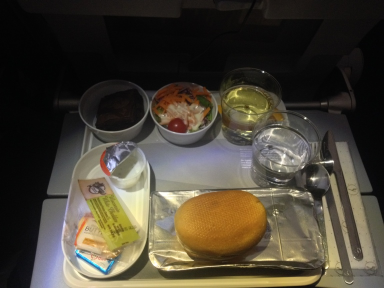 Lufthansa Dinner: Pasta, Salad, Brownie, Chese and Crackers