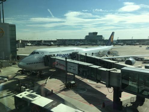 Lufthansa 747-800 at the gate in Frankfurt