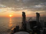 Sunset aboard passenger ferry Panstar Dream (Busan-Osaka)