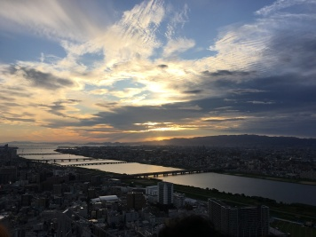 Sunset viewed from Umeda Sky Building in Osaka, Japan