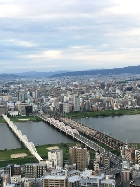 Yodo River from Umeda Sky Building in Osaka, Japan