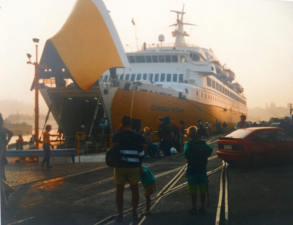 Ferry Corsica Regina in port in Genoa Italy)